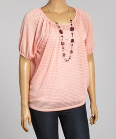 Take+a+look+at+the+Pink+Stripe+Scoop+Neck+Dolman+Top+-+Plus+on+#zulily+today!