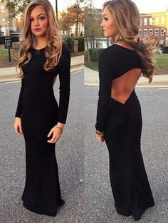 Sexy Backless Long-Sleeved Dress [L180846]