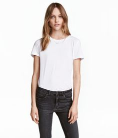 White. Crew-neck T-shirt in soft cotton jersey with a round neck and short sleeves.