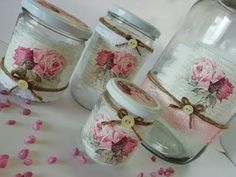 Glass bottles with decoupage Decoupage Vintage, Decoupage Jars, Wine Bottle Crafts, Mason Jar Crafts, Diy Arts And Crafts, Diy Crafts, Shabby Chic Crafts, Altered Bottles, Decorated Jars