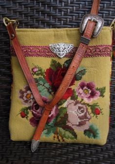 A golden yellow vintage needlepoint is bursting with beautiful cabbage roses. Red, lilac, green and taupe florals pop against the contrasting Pochette Diy, Carpet Bag, Tapestry Bag, Fabric Bags, Clutch, Vintage Roses, Handmade Bags, Beautiful Bags, Bag Making