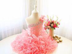 Glamour vestido rosa niño realizar sin mangas, vestido de baile vestido, vestido de la semana Santa de bebé, infantil del bebé gracias vestido del desfile, PD107