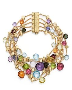 Marco Bicego 18K Yellow Gold Paradise Five Strand Mixed Stone Bracelet - Bag Lady Couture