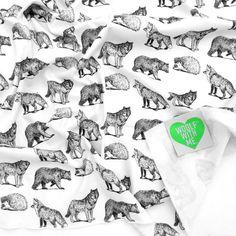 Swaddle Blanket Black Woodland Animals, Fox, Bear, Hedgehog, Wolf, Gender Neutral, Boy Nursery, Girl Nursery, Stroller Cover, Nursing Cover / Baby Swoon <3
