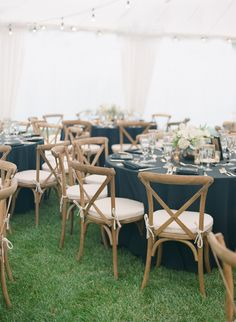 Elegant rustic navy, white, and gold wedding | wooden cross back dining chairs - just ideas