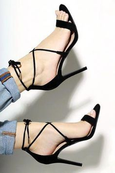 e2b38568164e Top off your LBD with a choker and the Aimee Black Suede Lace-Up Heels!  These sexy single sole heels