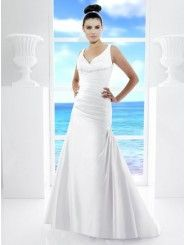 A-Line Satin Delicately Gathered Bodice V-Neckline Cocktail Train Wedding Dress (T480)