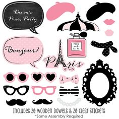 Paris, Ooh La La - 20 Piece Paris Themed Party Photo Booth Props Kit | BigDotOfHappiness.com