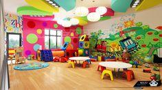Walls and tables Kindergarten Interior, Kindergarten Design, Kids Wall Murals, Murals For Kids, Kids Indoor Playground, Playground Design, Kids Party Venues, Daycare Design, Kid Spaces