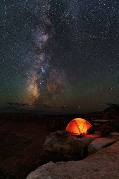 Starlight Camping On The Canyon Edge by Mike Berenson