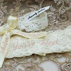 Personalised garter set made for Samantha in ivory and blush / mink Wedding Garters, Garter Set, Heavenly, Custom Design, Blush, Palette, Ivory, Colour, Bride