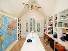 This is a very smart Playroom Study Room design. I lve the long table and separate desks. This is a very smart Playroom Study Room design. I lve the long table and separate desks. Study Room Design, Playroom Design, Kids Room Design, Attic Design, Playroom Ideas, Attic Playroom, Attic Rooms, Attic Spaces, Attic Bathroom