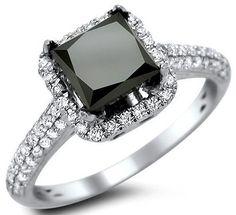 2.18ct Black Princess Cut Diamond Engagement Ring 18k White Gold / Front Jewelers