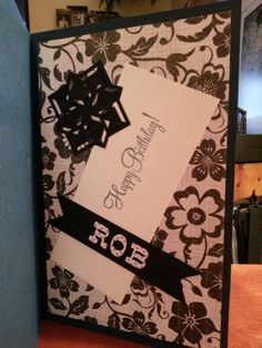 A birthday card for my brother-in-law. Just simple black and white and a single medallion.  Spellbinders Cut and Fold Angle Approach die.