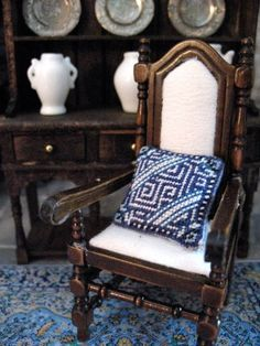 The Tudor / Medieval / Jacobean / Queen Anne Dollhouse Project: Export china pattern cushion, 1:12 scale