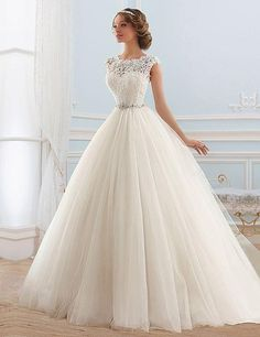 Item Type: Wedding Dresses Waistline: Natural is_customized: Yes Brand Name: ADLN Dresses Length: Floor-Length Neckline: Scoop Silhouette: A-Line Sleeve Length: Sleeveless Wedding Dress Fabric: Tulle                                                                                                                                                                                  More