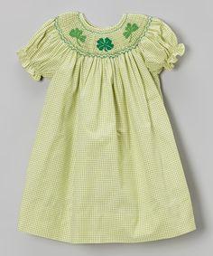 ee7bcb095 Look at this Rosalina Green Gingham Shamrock Smocked Bishop Dress - Infant  & Toddler on today!