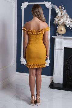 Janet Mustard Ruffle Off The Shoulder Mini Dress Party Dresses, Cute Dresses, Beautiful Dresses, Party Outfits, Fashion Glamour, Ladies Fashion, Luxury Fashion, Chic Outfits, Fashion Outfits