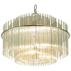 Gaetano Sciolari Round Glass Rod & Nickel Chandelier | From a unique collection of antique and modern chandeliers and pendants  at http://www.1stdibs.com/furniture/lighting/chandeliers-pendant-lights/