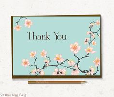 """Floral Thank you card, Woman favor card, Adult party favors, romantic thank you card - PRINTABLE, 4""""x6"""", instant download, Cherry blossoms"""
