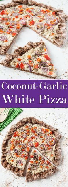 Coconut-Garlic White Pizza Recipe w/ Hearty Whole Wheat Crust
