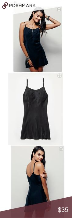 "NWT Free People Foxy Silk Slip Size M, can fit a S (most reviews recommended sizing up)  This is a lovely, well made, well fitting black slip. Black, other colors for reference. Still $78 online and sold out in black!  Slinky silk slip with front seaming detail and adjustable straps for easy fit.  Intimately 100% Silk Length: 26.0"" Free People Dresses Mini"