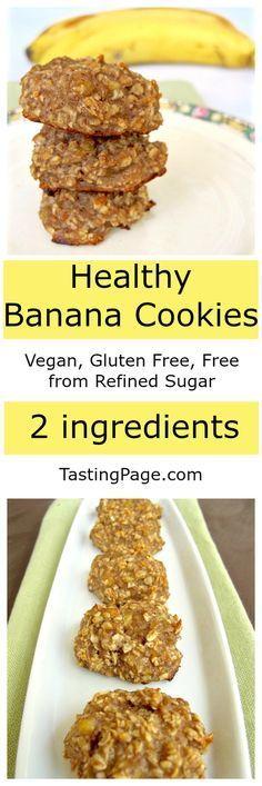 Healthy Banana Cookies - Vegan, gluten free, free from refined sugar   TastingPage.com
