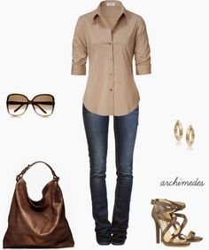 Casual Outfits | Something Simple  STEFFEN SCHRAUT blouse, ETOILE ISABEL MARANT jeans, Jimmy Choo sandals, Reed Krakoff bag, Gucci sunglasses  by archimedes16