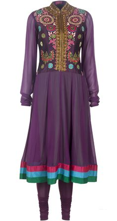 Purple Dropwaist Multicolor kurta set available only at Pernia's Pop-Up Shop.