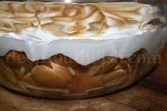 Banana pudding, layered with vanilla wafer cookies, bananas, and a made from scratch egg custard, topped with a homemade meringue.