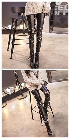 Women's Solid Black Skinny Pants,to style a fashionable street style is not that hard.