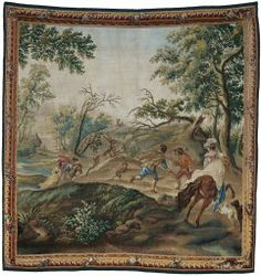 """Art Institute Chicago """"The Stag Hunt"""", from Pastoral Hunting Scenes, c. 1775.  Wool and silk, slit and double interlocking tapestry weave 268.6 x 281.62 cm.  Gift of Alice H. Patterson  After a design by an unknown artist after an engraving by Jacques Philippe Lebas (1707–1783) after Philips Wouwerman (1619–1668), c. 1766 Presumably woven at the workshop of Léonard Roby (active c. 1750–c. 1789), France, Aubusson."""