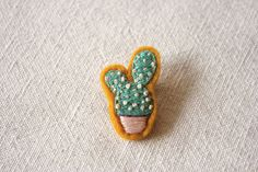 Cottontale Cactus Felt Embroidered Pin by whitelightchase on Etsy