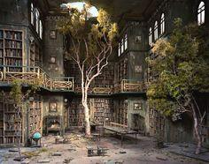 abandoned library diorama