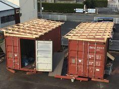 コンテナハウスを作るぞ | 廃材天国でエコ&ロハスな自給自足 Building A Container Home, Container Buildings, Container Architecture, Container Shop, Container House Design, Tiny House Design, Shipping Container Workshop, Shipping Container House Plans, Sustainable Building Design