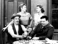 Art Karney (Ed Norton), Audrey Meadows (Alice Kramden), Joyce Randolph (Trixie Norton) and Jackie Gleason (Ralph Kramden): The Honeymooners