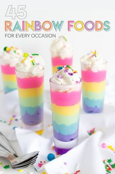 Ui, look delicious ❤ Colorful dessert l rainbow mousse recipe l kids . - Ui, they look delicious ❤ Colorful dessert l Rainbow Mousse Recipe l Children& Birthday Ide - Rainbow Drinks, Rainbow Desserts, Colorful Desserts, Rainbow Food, Colorful Food, Rainbow Cupcakes, Bonbons Pastel, Keto Desserts, Dessert Recipes