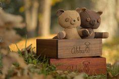 Lavender teddy Chocolate brown wooden box custom bear by AbbuToys