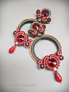 Soutache Jewelry, Shibori, Elsa, Ribbon, Drop Earrings, Handmade, Accessories, Fashion, Bijoux