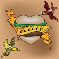 Burger Tattoo Art Print by Charlton Yu Tattoo Flash Art, Tattoo Art, Devine Design, Food Wallpaper, Art Pages, Disney Characters, Fictional Characters, Graphic Design, Art Prints