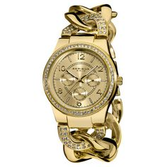 Women's Quartz Multifunction Crystal Accented Twist Chain Watch