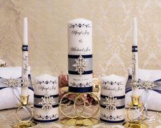 Personalized Wedding Unity Candle Set in Navy Blue and Silver with Crystal Brooch, White Candles, Ivory Wedding Candles, Church Ceremony The Wedding Date, Ivory Wedding, Wedding Ideas, White Candles, Pillar Candles, Blue And Silver, Navy Blue, Candle Art, Wedding Unity Candles