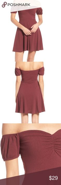 "BP Off The Shoulder Rib Knit Dress, burgundy, NWT BP Off The Shoulder Rib Knit Dress, burgundy, NWT. A cute shoulder-baring sweetheart neckline tops a swingy rib-knit dress with short, puffed sleeves and a nipped-in waist. Wear solo on date night or use as a femme base layer in colder seasons.  26"" center front length (size Medium) Off-the-shoulder sweetheart neck 48% polyester, 48% rayon, 4% spandex bp Dresses"