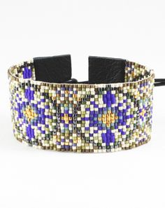 """How fun is this Chan Luu seed bead mix cuff? Seed Beads 6"""" L + 3"""" extender (3 options for sizing) Chocolate Leather"""