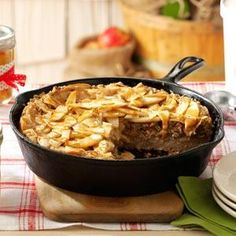 Caramel-Apple Skillet Buckle Recipe -My grandma used to make a version of this for me when I was a little girl. She would make it using fresh apples from her tree in the back yard. I've adapted her recipe because I love the combination of apple, pecans, and caramel.—Emily Hobbs, Springfield, Missouri