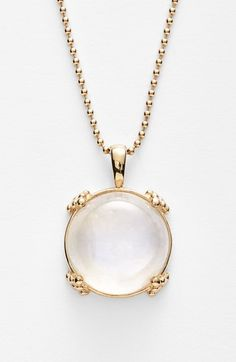 Anzie 'Dew Drop' Pendant Necklace. The naturally ethereal-looking makeup of semiprecious moonstone stars in this luminous ball-chain necklace flourished with solid-gold beading.