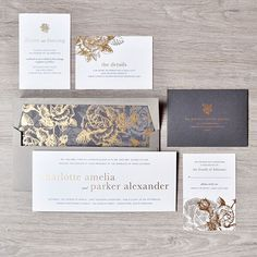 This horizontal invitation is all drama, and we love it! A traditional floral pattern gets a luxe touch of metallic embossing./