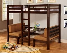Awesome space saver for childs room. Bunk bed with bottom bed convertible to 2 benches and a table.