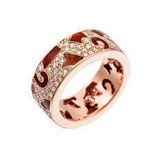 Stefan Hafner I Fiori Della Notte 18K Rose Gold Ring With Copper Enamel & Diamond Inserts (=)