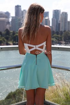 Teal Turquoise Strapless Dress - White Strapless Dress with Lace f58e5375f